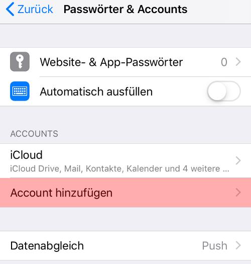 CardDAV - Synchronisierung von Kontakten - iOS, Bild 3