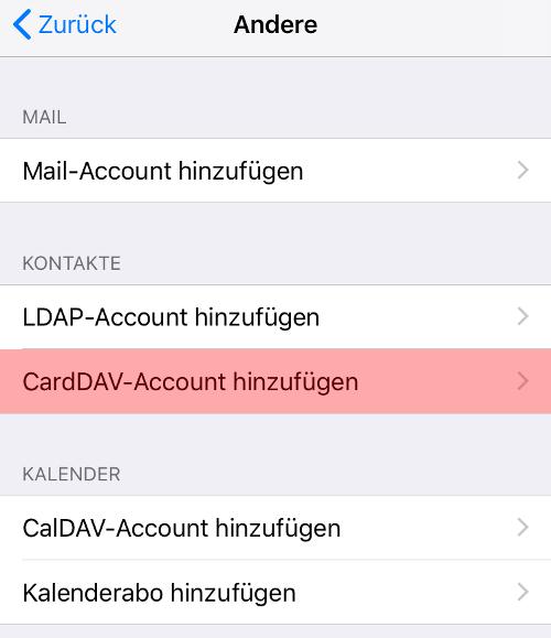 CardDAV - Synchronisierung von Kontakten - iOS, Bild 5