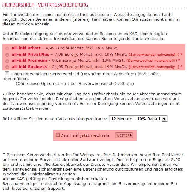 Tarifwechsel - Wechsel innerhalb der Webhosting-Tarife, Bild 3