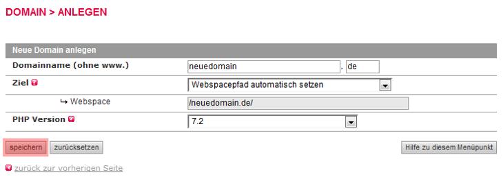 so funktioniert das Bestellen einer Domain - Anlegen der Domain im KAS, Bild 5