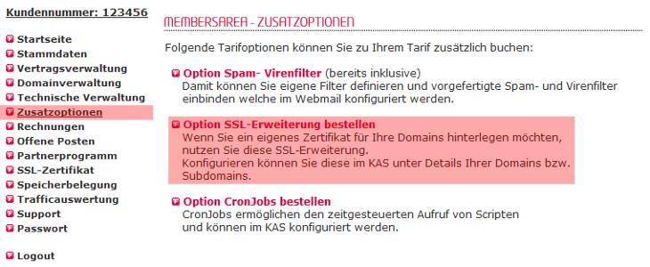 SSL-Erweiterung - Bestellung der SSL-Erweiterung, Bild 2