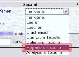 phpMyAdmin - Version 2.6 - Tabellen reparieren, Bild 4