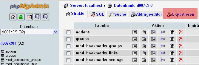 phpMyAdmin - Version 2.6 - Datenbanksicherung anlegen, Bild 2