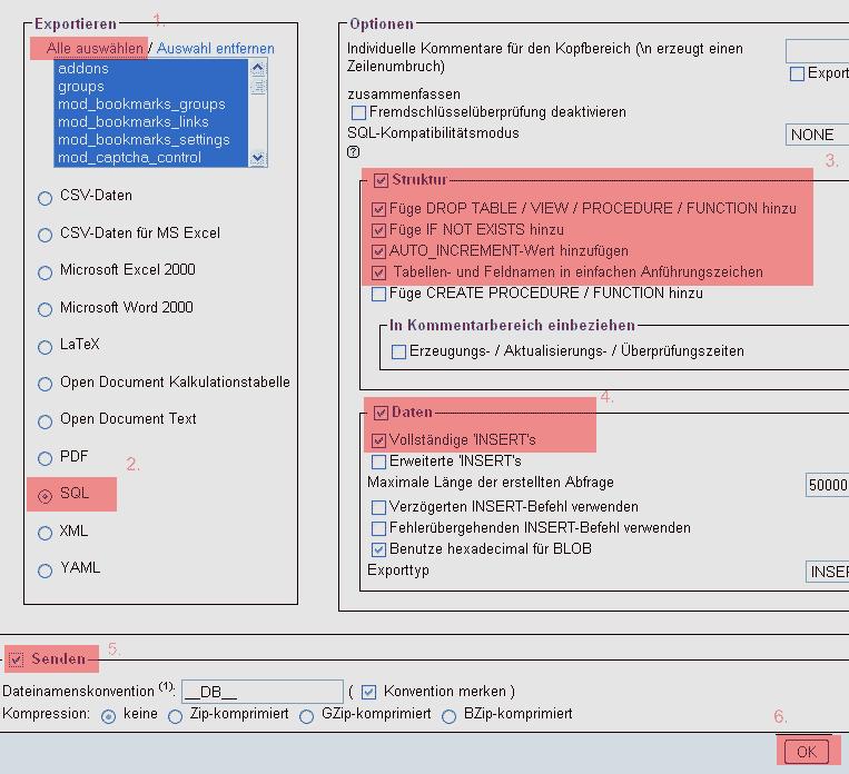 phpMyAdmin - Version 2.6 - Datenbanksicherung anlegen, Bild 3