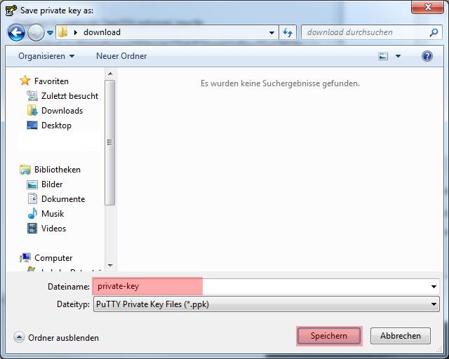 Dateiverwaltung - Verbindung mit PuTTY aufbauen (Public-Key-Verfahren), Bild 6