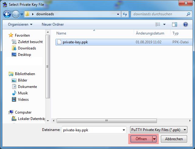 Dateiverwaltung - Verbindung mit PuTTY aufbauen (Public-Key-Verfahren), Bild 12