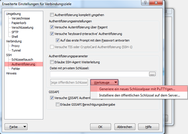 WinSCP 5.7.7 - Verbindung per SFTP (Public-Key-Verfahren), Bild 4