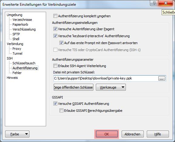 WinSCP 5.7.7 - Verbindung per SFTP (Public-Key-Verfahren), Bild 12