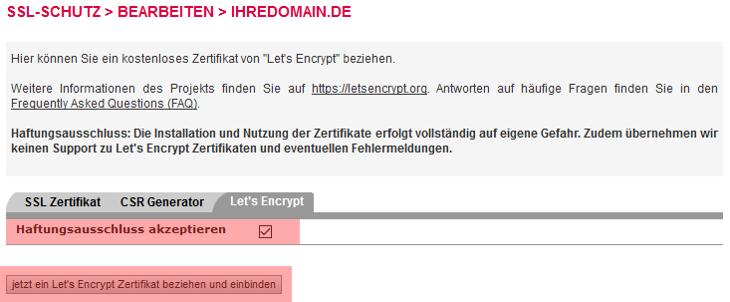 SSL-Zertifikat - Einbindung Let's Encrypt Zertifikat, Bild 4