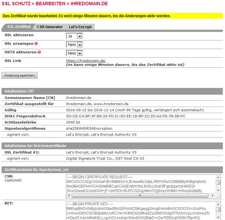 SSL-Zertifikat - Einbindung Let's Encrypt Zertifikat, Bild 5