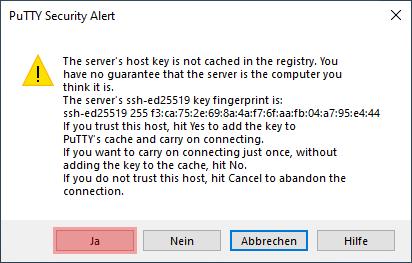 Dateiverwaltung - Verbindung mit PuTTY aufbauen (Passwort-Verfahren), Bild 3