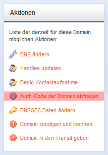Domainverwaltung - Domain Authcode abfragen, Bild 3