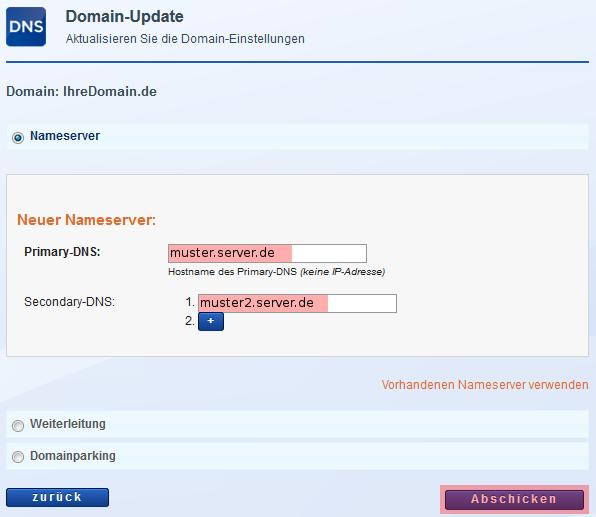 Domainverwaltung - Änderung der Nameserver, Bild 4