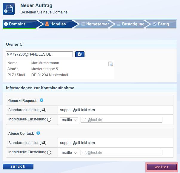 Domain bestellen - Neuregistrierung, Bild 6