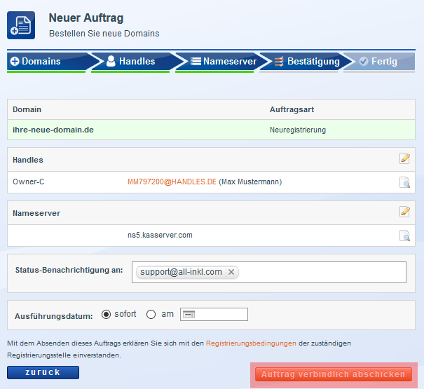 Domain bestellen - Neuregistrierung, Bild 8