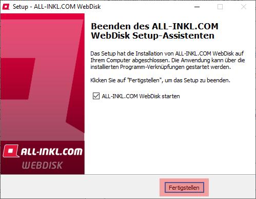 Aktivierung, Installation, Einrichtung - ALL-INKL.COM WebDisk - Installation unter Windows, Bild 10