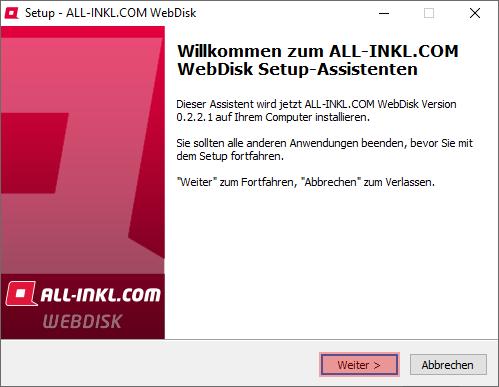 Aktivierung, Installation, Einrichtung - ALL-INKL.COM WebDisk - Installation unter Windows, Bild 4
