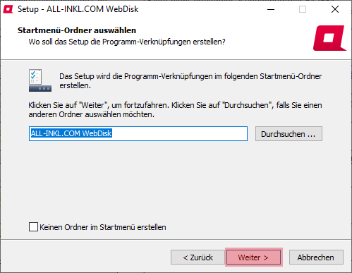 Aktivierung, Installation, Einrichtung - ALL-INKL.COM WebDisk - Installation unter Windows, Bild 7