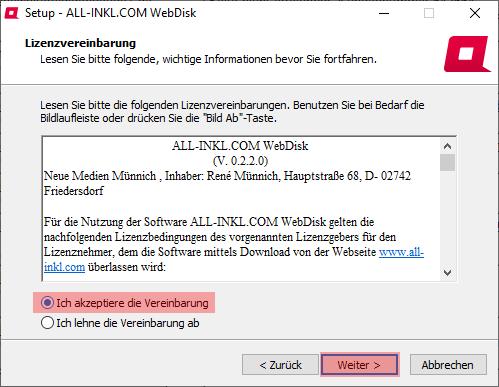 Aktivierung, Installation, Einrichtung - ALL-INKL.COM WebDisk - Installation unter Windows, Bild 5