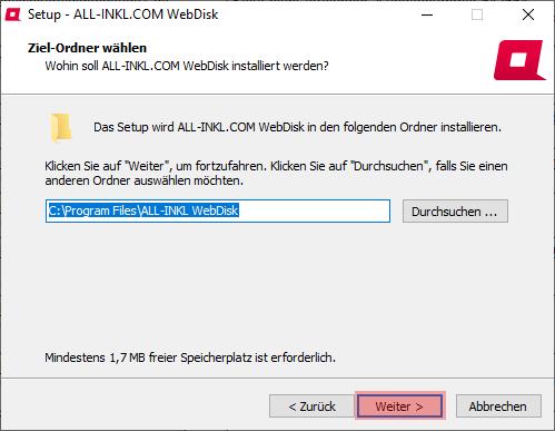 Aktivierung, Installation, Einrichtung - ALL-INKL.COM WebDisk - Installation unter Windows, Bild 6