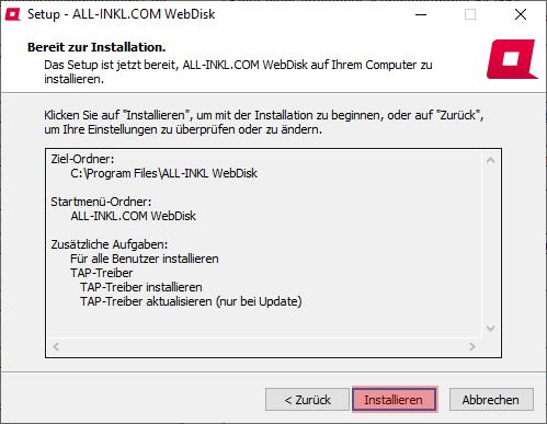 Aktivierung, Installation, Einrichtung - ALL-INKL.COM WebDisk - Installation unter Windows, Bild 9