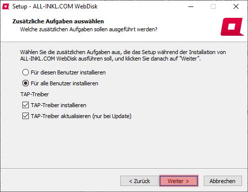 Aktivierung, Installation, Einrichtung - ALL-INKL.COM WebDisk - Installation unter Windows, Bild 8
