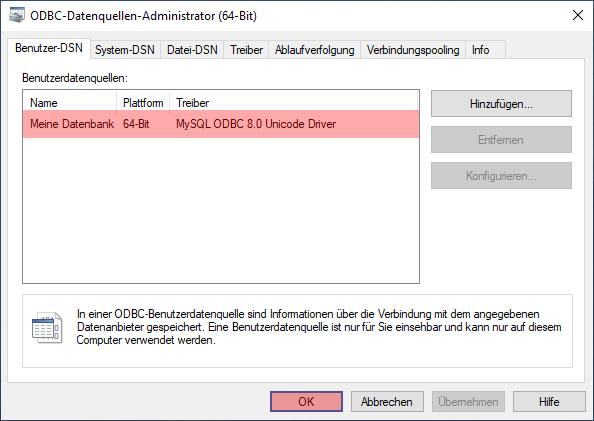 ODBC-Verbindung zu MySQL - Einrichtung der Verbindung unter Windows 10, Bild 6