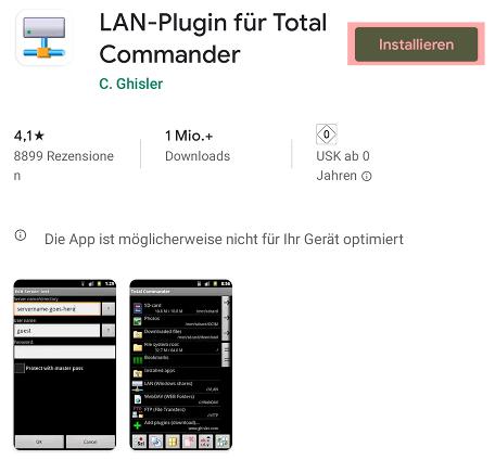 Einbindung als Netzlaufwerk - Total Commander - Android, Bild 4