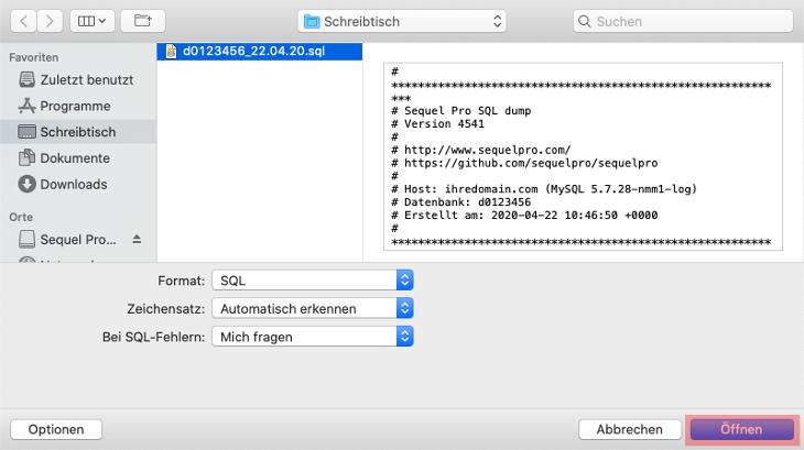 Sequel Pro für macOS - Datenbanksicherung wiederherstellen, Bild 2