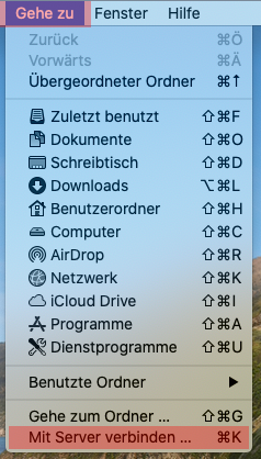 Einbindung als Netzlaufwerk - Netzlaufwerk einbinden -  macOS, Bild 1