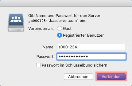 Einbindung als Netzlaufwerk - Netzlaufwerk einbinden -  macOS, Bild 3