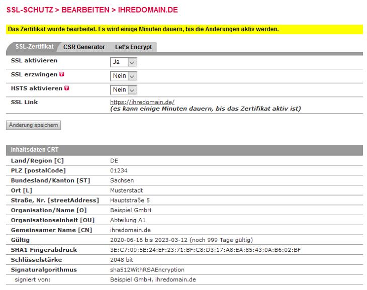 SSL-Zertifikat - Einbindung selbstsigniertes SSL-Zertifikat, Bild 4