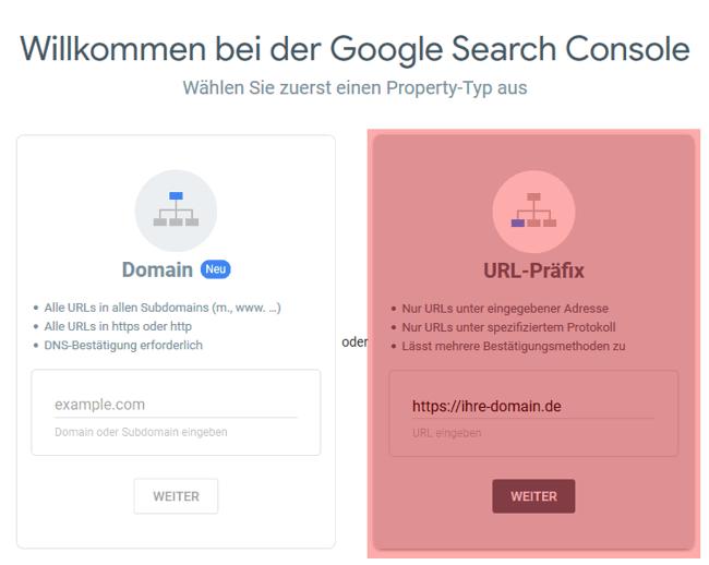 Google Search Console - neue Domain hinzufügen, Bild 3