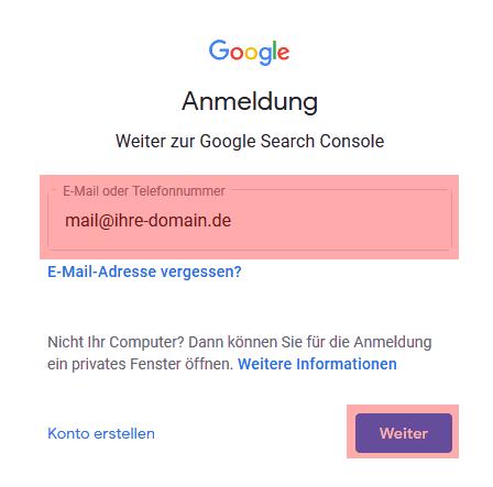 Google Search Console - neue Domain hinzufügen, Bild 1
