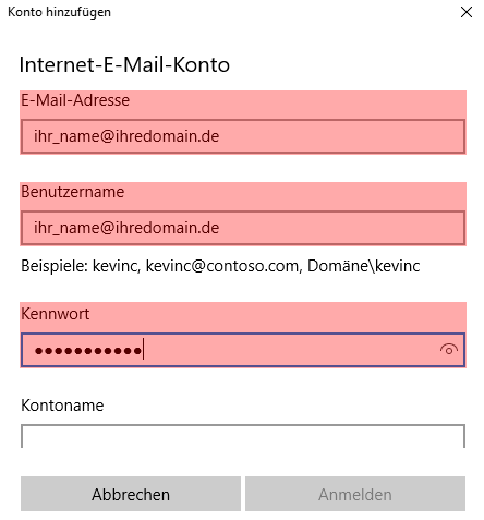 Anleitungen, Programme, E-Mail, Windows 10 App: E-Mail-Konto