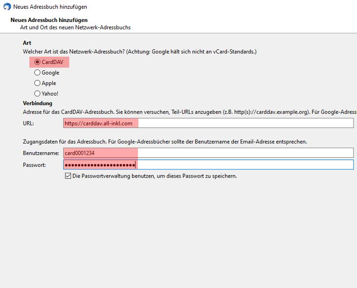 CardDAV - Synchronisierung von Kontakten - Thunderbird CardBook, Bild 5