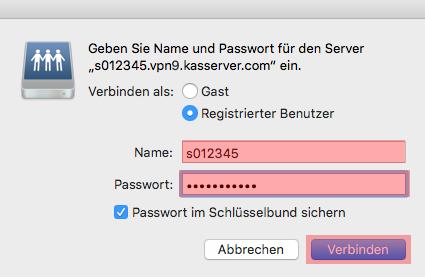 Einbindung als Netzlaufwerk - Netzlaufwerk über VPN verbinden - MAC OS, Bild 12