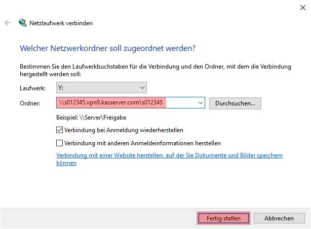 Einbindung als Netzlaufwerk - Netzlaufwerk über VPN verbinden - Windows 10, Bild 11