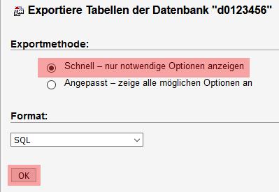 phpMyAdmin - Datenbanksicherung anlegen, Bild 4