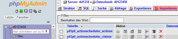 phpMyAdmin - Datenbanksicherung einspielen, Bild 3
