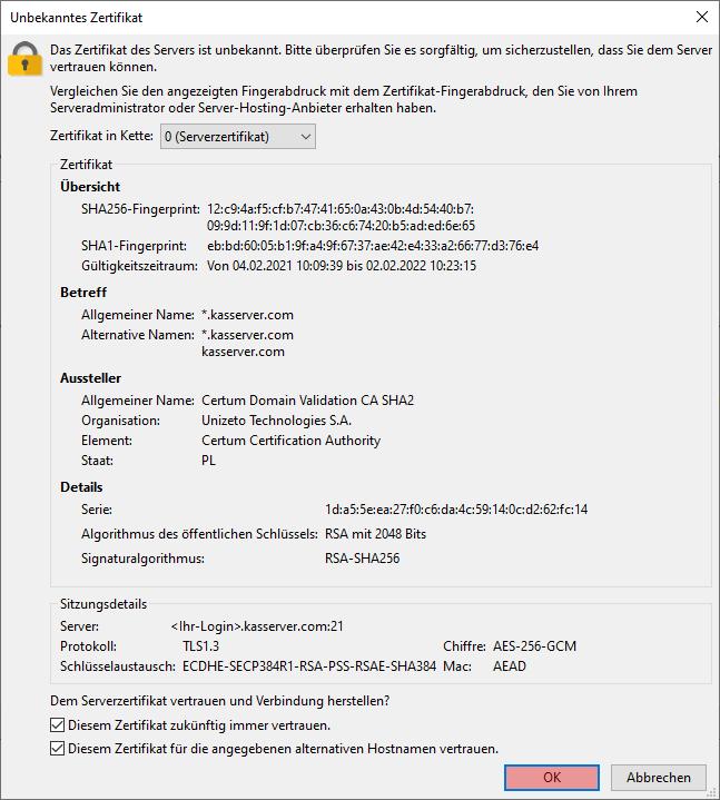 FileZilla - Version 3 - Verbinden und Dateien hochladen, Bild 4