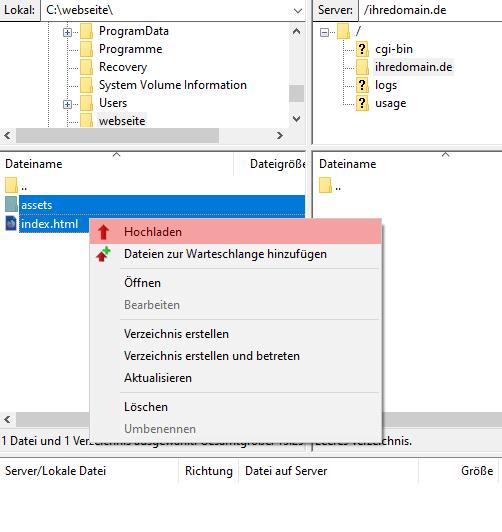 FileZilla - Version 3 - Verbinden und Dateien hochladen, Bild 6