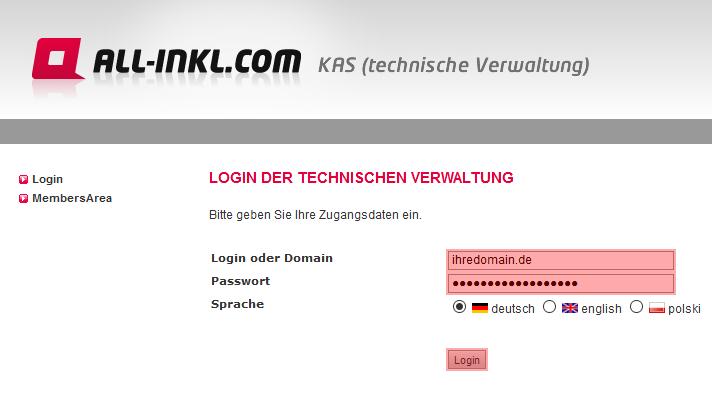 so funktioniert das Bestellen einer Domain - Anlegen der Domain im KAS, Bild 2
