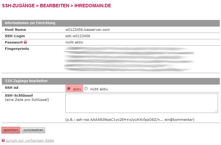 Dateiverwaltung - Aktivierung von SSH (nur im Hauptaccount möglich), Bild 4