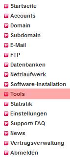 Dateiverwaltung - Aktivierung von SSH (nur im Hauptaccount möglich), Bild 1