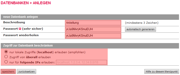 MySQL-Datenbank - MySQL-Datenbank anlegen, Bild 3