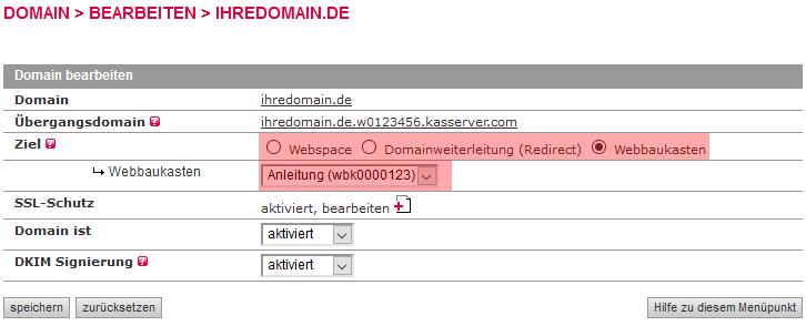 Verwalten im KAS - Verschieben eines Webbaukastens, Bild 5