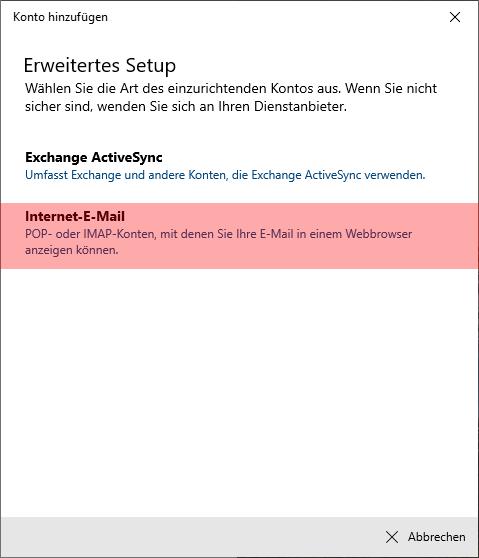 Windows 10 App - E-Mail-Konto einrichten, Bild 5