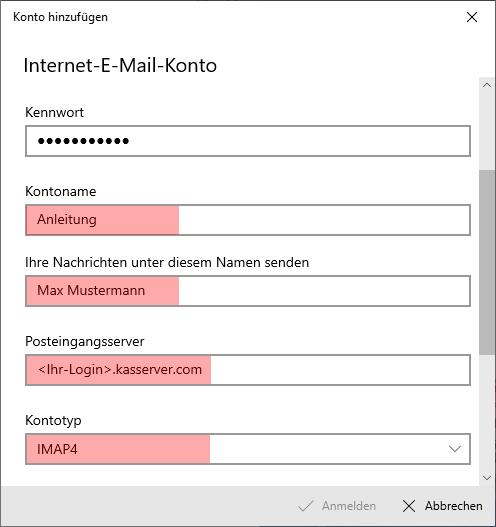 Windows 10 App - E-Mail-Konto einrichten, Bild 7