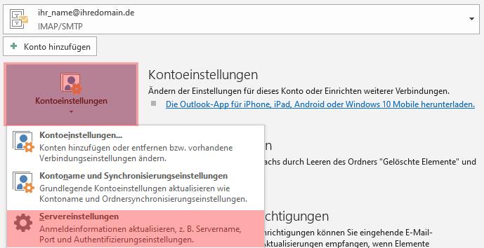 Outlook - 2019 - SMTP-Authentifizierung aktivieren, Bild 2
